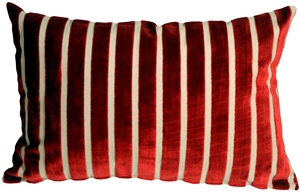 Monroe Velvet Stripes 16x24 Red Throw Pillow