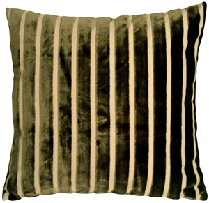 Monroe Velvet Stripes 22x22 Green Throw Pillow