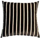Monroe Velvet Stripes 22x22 Black Throw Pillow