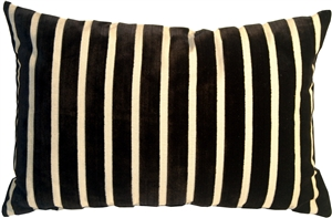 Monroe Velvet Stripes 16x24 Black Throw Pillow