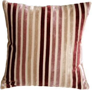 Velvet Multi Stripes Mauve 16x16 Throw Pillow