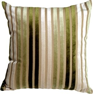 Velvet Multi Stripes Green 16x16 Throw Pillow