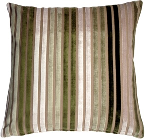 Velvet Multi Stripes Green 20x20 Throw Pillow