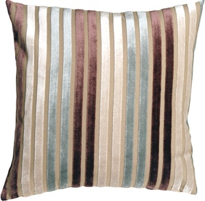 Velvet Multi Stripes Blue 16x16 Throw Pillow