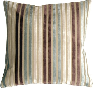 Velvet Multi Stripes Blue 20x20 Throw Pillow