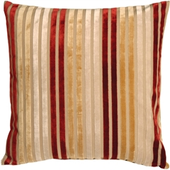 Velvet Multi Stripes Red 20x20 Throw Pillow