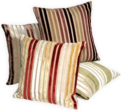 Velvet Multi Stripes 16x16 Throw Pillows