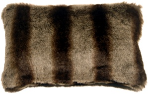Amur Wolf Faux Fur 12x20 Throw Pillow