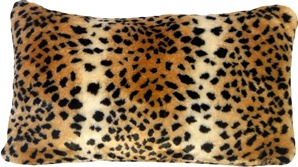 Amur Leopard Faux Fur 12x20 Throw Pillow