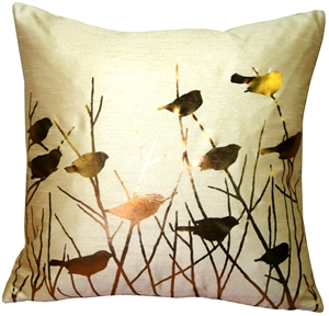 Pillow Décor's metallic birds desert sand graphic pillow