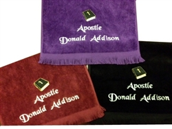 Pastor towels, customized pastoral towel, pastoral towels, custom embroidered pastoral towels, clergy  towels, minister towels, apostle towels, evangelist towels, custom embroidered towels, gifts, pastor, minister, towels, clergy gifts