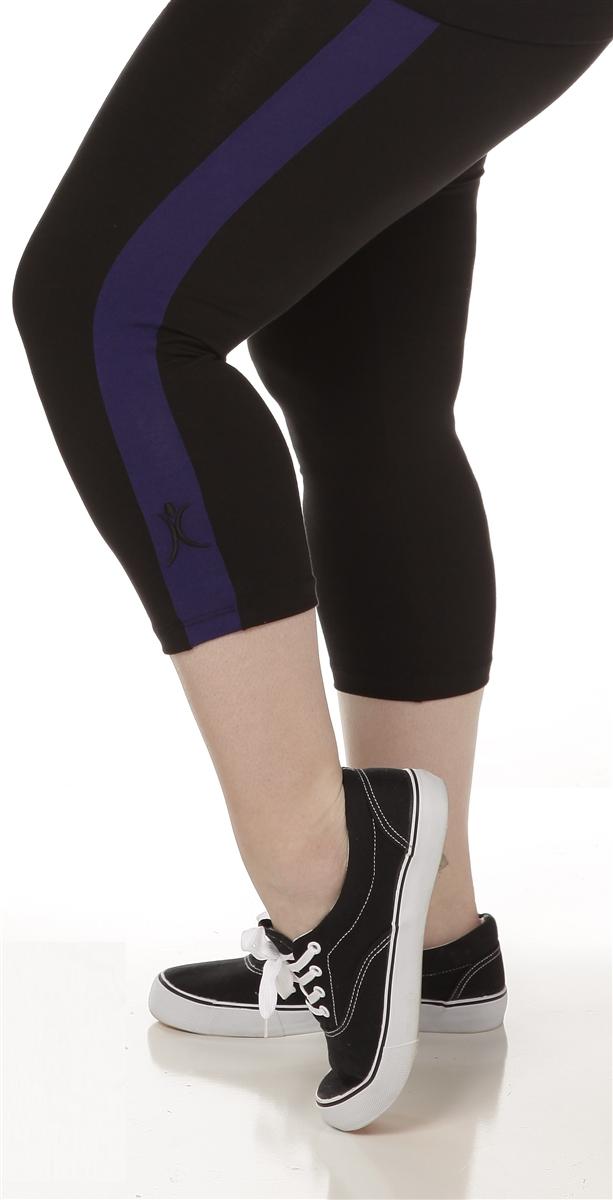 Plus Size Capri Pants - Black with Purple Stripes