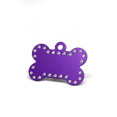 Dog bone pet tags in multiple colors with embedded swarovski crystals