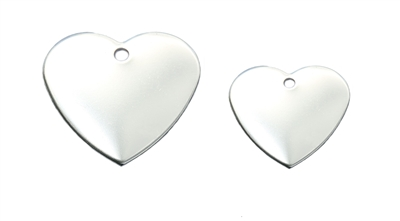 Large and mini heart pet tags in reflective stainless steel