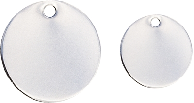 round pet tag in reflective stainless steel