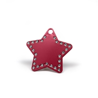 Star pet tags in multiple colors with embedded swarovski crystals
