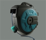 motorized retractable indoor reel using 18v ac/dc power supply, this unit will extract and retract with a remote switch, customer will choose cable and length remote switch for add costs, xlr, mic, coaxial, cat5e, cat6, cat7, VGA,  DC power, fiber optic,
