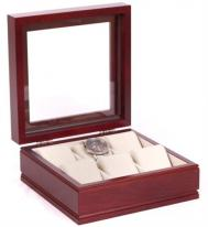 Glass Top Solid Wood Watch Box, Mahogany Finish