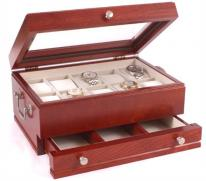 Solid Cherry Watchbox-Drawer-Glass Top