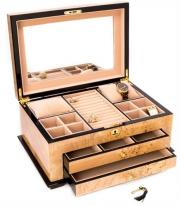 Locking Luxury Wood Jewelry Box-Two Drawers