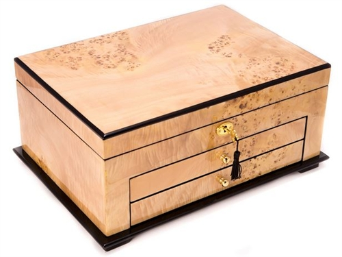 Locking Luxury Wood Jewelry Box Two Drawers