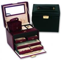 Classic Leather Jewelry Box with Overnight Jewelry Travel Case.  Genuine Leather.