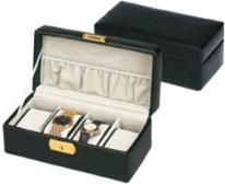 Mens Black Leather Watch Box for 4 Watches by Budd Leather