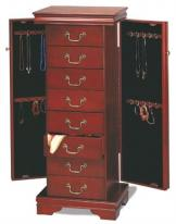 cherry standing jewelry armoire in traditional design, opening necklace cabinets