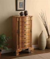 standing wooden jewelry armoire seven drawers traditional oak design