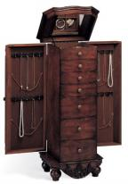 cherry jewelry armoire in antique design, side necklace doors