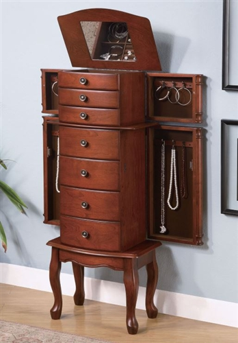 seven drawer large jewelry armoire. Black Bedroom Furniture Sets. Home Design Ideas