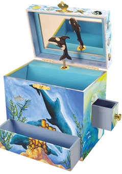 Childs Music Box with Orca Whale and Dolphins Plays Santa Lucia