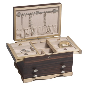 Solid Wood Ebony Jewelry Box Chest with Locking Necklace Storage and Drawers