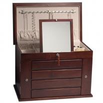 Large Solid Wood Jewelry Box Armoire made from American Hardwoods with Mahogany Finish. Fully Locking.