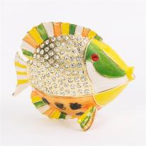 Bejeweled Blowfish Trinket Box 24k gold detail