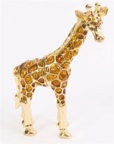 Giraffe Trinket Box with Amber Crystals Hand Dipped in 24k gold