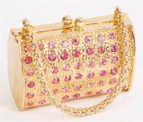 Pink Crystal Purse Trinket Box 24k gold