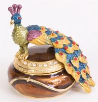 Peacock Trinket Box. Hand Enameled with 24k gold Details.