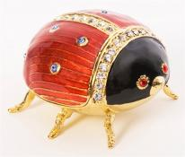Ladybug Trinket Box. Hand Enameled with 24k gold Details