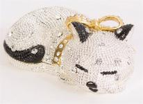Sleeping Kitty Cat Crystal Trinket Box. 24k gold detail.