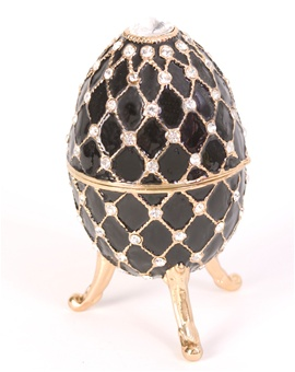 "Black Ebony Musical Egg Trinket Box plays ""Endless Love"""