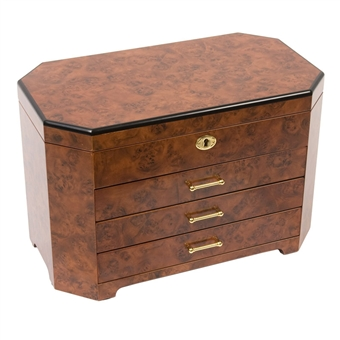Rustic Burl Wood Jewelry Box Chest, JBC113 Large Jewelry Box with Lock