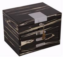 Locking Womens Jewelry Box in Black & White Finish
