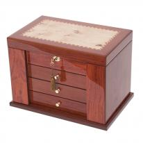 Locking Bubinga Jewelry Box with Mapa Burl Inlay