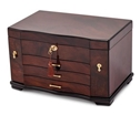Dark Walnut Jewelry Chest, Fully Locking Box, JBC352