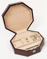 Octagon Mahogany Jewelry Box with Lift Tray
