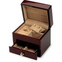 Small Mahogany Jewelry Box with Drawer