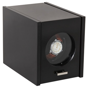 Single Watch Winder in Black High Gloss Finish