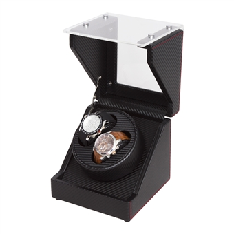 Double Watch Winder in Glass Finish with Black wood