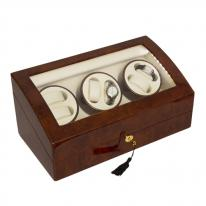 Six Unit Watch Winder in Burl Wood with High Gloss Finish